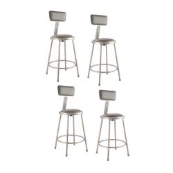National Public Seating Vinyl-Padded Task Stool, Gray Seat/Gray Frame, Quantity: 4