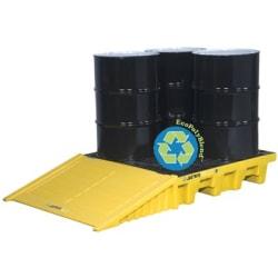 EcoPolyBlend Spill Control Pallets, Black, 73 gal, 49 in x 49 in, W/Drain