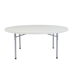 """National Public Seating Blow-Molded Folding Table, Round, 71""""W x 71""""D, Light Gray/Gray"""