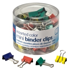 "OIC® Binder Clips Tub, Mini Clips, 9/16"", Assorted Colors, Pack Of 60"