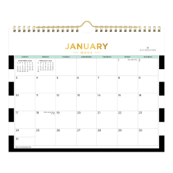 """Blue Sky™ Day Designer Monthly Wall Calendar, 8-3/4"""" x 11"""", Black Rugby Stripe, January To December 2021, 124834"""