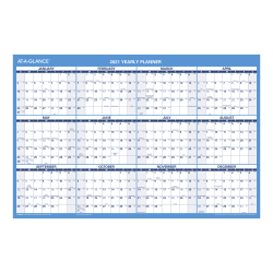 "AT-A-GLANCE® Horizontal Reversible And Erasable Academic/Regular Year Wall Calendar, Red/Blue/White, 36"" x 24, January To December 2021 / July 2020 To June 2021, PM200S28"