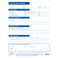 ComplyRight™ Employee Warning Notices, Pack Of 50