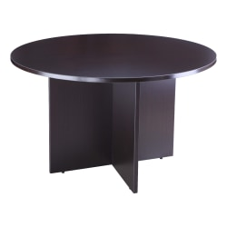 """Boss Office Products 42""""W Round Wood Conference Table, Mocha"""