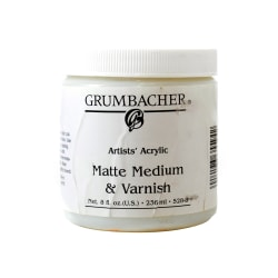 Grumbacher Artists' Acrylic Matte Medium And Varnish, 8 Oz