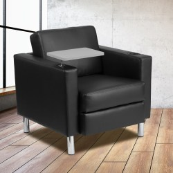 Flash Furniture Bonded LeatherSoft™ Tablet-Arm Guest Chair, Black