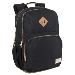 "Benrus Double-Compartment Backpack With 17"" Laptop Pocket, Black/Brown"