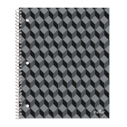 """Office Depot® Brand Stellar Poly Notebook, 8-1/2"""" x 11"""", 1 Subject, College Ruled, 160 Pages (80 Sheets), Black Geo"""