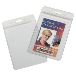 """SKILCRAFT® Resealable Badge Holders, 4""""H x 4""""W x 6""""D, Clear, Box Of 25"""