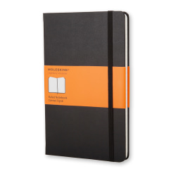 "Moleskine Classic Hard Cover Notebook, 3-1/2"" x 5-1/2"", Ruled, 192 Pages (96 Sheets), Black"