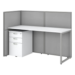 """Bush Business Furniture Easy Office 60""""W Cubicle Desk With File Cabinet And 45""""H Open Panels Workstation, Pure White/Silver Gray, Premium Installation"""