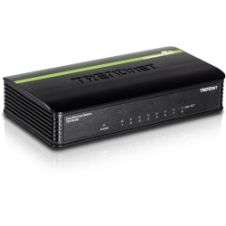 TRENDnet 8-Port Unmanaged 10/100 Mbps GREENnet Ethernet Desktop Switch; TE100-S8; 8 x 10/100 Mbps Ethernet Ports; 1.6 Gbps Switching Capacity; Plastic Housing; Network Ethernet Switch; Plug & Play - 8 Port 10/100Mbps Switch