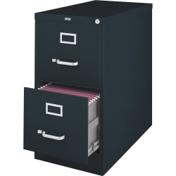 "Lorell® Fortress 26-1/2""D Vertical 2-Drawer Legal-Size File Cabinet, Metal, Black"