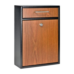 "Mail Boss Locking Security Drop Box, 16-1/4""H x 11-1/4""W x 4-3/4""D, Black/Wood Grain"