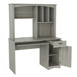 Inval Bandya Computer Desk/Workcenter With Hutch, Smoke Oak