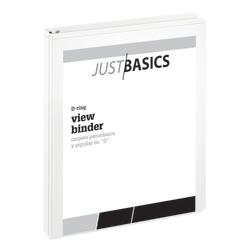 "Just Basics® Basic View 3-Ring Binder, 1"" D-Rings, 38% Recycled, White"