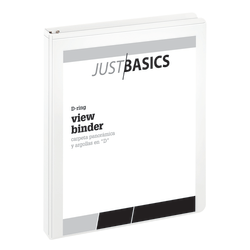 "Just Basics D-Ring View Binder, Basic, 1"" Rings, 38% Recycled, White"