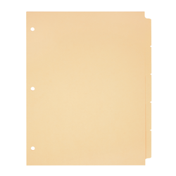Office Depot® Brand Plain Dividers With Write-On Tabs, Manila, 5-Tab, Pack Of 50 Sets