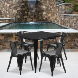"""Flash Furniture Commercial-Grade Square Metal Table Set With 4 Arm Chairs, 29-1/2""""H x 31-1/2""""W x 31-1/2""""D, Black"""