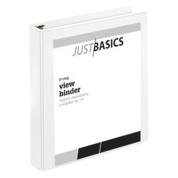 "Just Basics® Basic View 3-Ring Binder, 1 1/2"" D-Rings, 41% Recycled, White"
