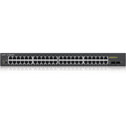 ZyXEL GS1900-48HP L2 Web Managed 48-Port GbE 170W PoE Rackmount Switch with 2 SFP, Total 50-Ports - 48 Ports - Web Managed - 48 x POE - 2 x Expansion Slots - 10/100/1000Base-T, 1000Base-X - Rack-mountable