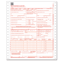 """ComplyRight™ CMS-1500 Health Insurance Claim Form (02/12), 2-Part Continuous Carbonless, 8 1/2"""" x 11"""", White, Case Of 1,000"""