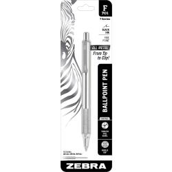 Zebra® F-701 Stainless Steel Retractable Ballpoint Pen, Fine Point, 0.7 mm, Silver Barrel, Black Ink