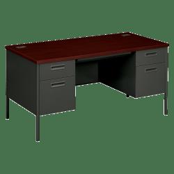 "HON® Metro Classic Double-Pedestal Desk, 60""W, Mahogany/Charcoal"