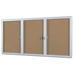 "MasterVision™ Anodized Aluminum Frame Enclosed Cork Bulletin Board, 3 Doors, 36"" x 72"""