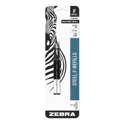 Zebra® Ballpoint F-Refills For F-301, F-301 Ultra & 301 A Pens, Fine Point, 0.7 mm, Black, Pack Of 2 Refills