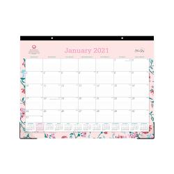 "Blue Sky™ Monthly Desk Pad Calendar, 22"" x 17"", Breast Cancer Awareness, Garden Flower, January to December 2021, 100015"