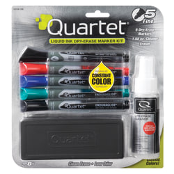 Quartet® EnduraGlide® Dry-Erase Markers, Kit, Fine, Assorted Colors, Pack Of 5