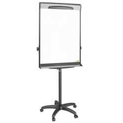 "MasterVision® Magnetic Gold Ultra Dry-Erase Whiteboard Mobile Presentation Easel, 76"", Steel Frame With Black Finish"