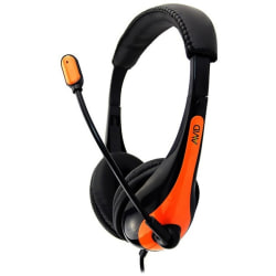 Avid Education AE-36 Headset with Noise Cancelling Microphone and 3.5mm Plug, Orange - 6 ft Cable - Noise Cancelling Microphone - Black, Orange - ITEM NOT IN RETAIL PACKAGING)