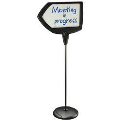 """MasterVision® Arrow Easy-Clean Dry-Erase Sign Stand, 17"""" x 25"""", Silver/Black"""