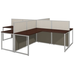 "Bush Business Furniture Easy Office 60""W 4-Person L-Shaped Cubicle Desk Workstation With 45""H Panels, Mocha Cherry/Silver Gray, Premium Installation"