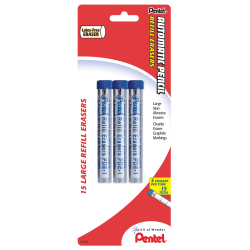 Pentel® Quicker Clicker™ Eraser Refills, Pack Of 15