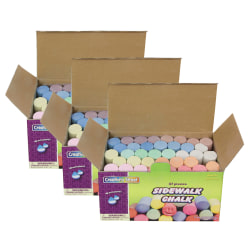 """Creativity Street Sidewalk Chalk, 4"""", Assorted Colors, 37 Pieces Per Box, Pack Of 3 Boxes"""
