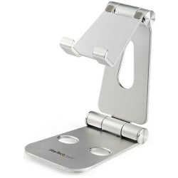"""StarTech.com Phone and Tablet Stand for devices such as an iPad Pro or Samsung Galaxy tablet - Adjustable Smartphone and Tablet Stand - Portable Phone/Tablet Holder - Multi Angle - Foldable - Aluminum - 5.1"""" x 3"""" x 4.1"""" x - Aluminum - 1 - Silver"""