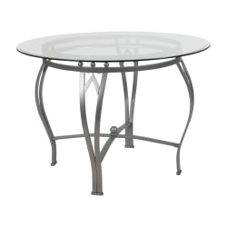 "Flash Furniture Round Glass Dining Table With Bowed Frame, 29-1/2""H x 42""W x 42""D, Clear/Silver"