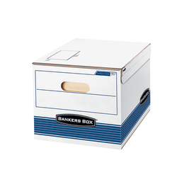 "Bankers Box® Stor/File™ S/S™ Storage Boxes, Letter/Legal Size, 15"" x 12"" x 10"", 60% Recycled, White/Blue, Case Of 12"