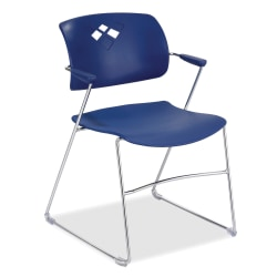 Safco® Veer Flex-Frame Stacking Chairs, Blue, Pack Of 4