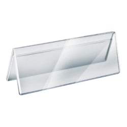 """Azar Displays 2-Sided Acrylic Name Plates, 3"""" x 8-1/2"""", Clear, Pack Of 10 Name Plates"""