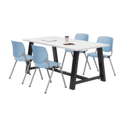 KFI Studios Midtown Table With 4 Stacking Chairs, Designer White/Sky Blue