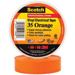 "3M™ 35 Color-Coded Vinyl Electrical Tape, 1.5"" Core, 0.75"" x 66', Orange, Pack Of 10"