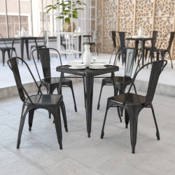 """Flash Furniture Square Metal Indoor-Outdoor Table Set With 2 Stack Chairs, 29""""H x 27-3/4""""W x 27-3/4""""D, Black"""