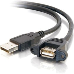 C2G 2ft Panel-Mount USB 2.0 A Male to A Female Cable - Type A Male USB - Type A Female USB - 2ft - Black