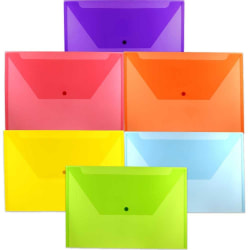 """JAM Paper® Plastic Legal Booklet Envelopes With Snap Closures, 9-3/4"""" x 14-1/2"""", Assorted Colors, Pack Of 6 Envelopes"""