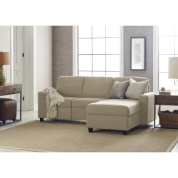 Serta® Palisades Reclining Sectional With Storage Chaise, Right, Beige/Espresso