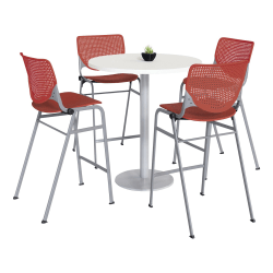 "KFI Studios KOOL Round Pedestal Table With 4 Stacking Chairs, 41""H x 36""D, Designer White/Coral Orange"